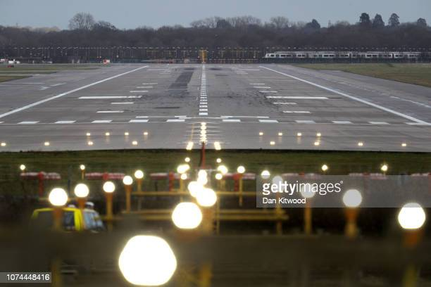 A general view of the closed runway at Gatwick Airport on December 20 2018 in London England Authorities at Gatwick closed the runway after drones...