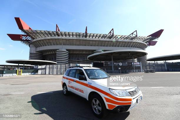 General view of the closed stadium after rules to limit the spread of Covid-19 have been put in place before the Serie A match between AC Milan and...