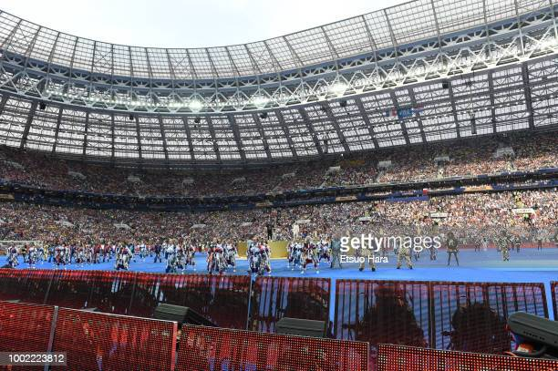 General view of the closing ceremony ahead of the 2018 FIFA World Cup Russia Final between France and Croatia at Luzhniki Stadium on July 15 2018 in...