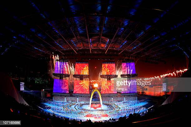 A general view of the Closing Ceremony at Haixinsha Square on day fifteen of the 16th Asian Games Guangzhou 2010 on November 27 2010 in Guangzhou...