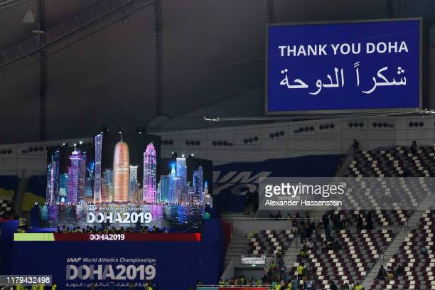 A general view of the closing ceremony during day ten of 17th IAAF World Athletics Championships Doha 2019 at Khalifa International Stadium on...