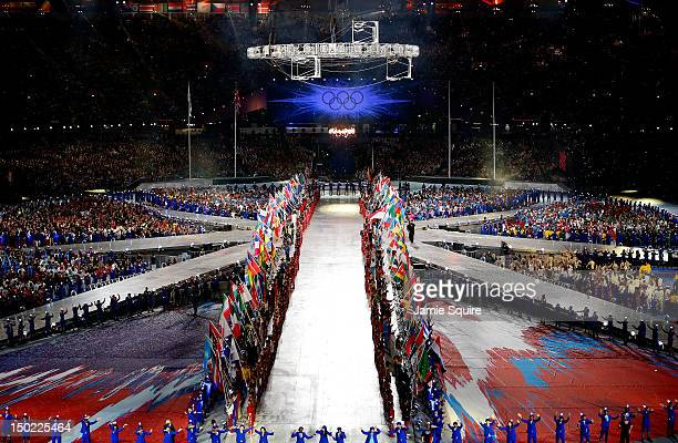 A general view of the Closing Ceremony on Day 16 of the London 2012 Olympic Games at Olympic Stadium on August 12 2012 in London England