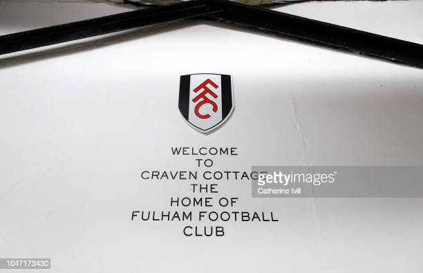 General view of the club badge and welcome to Craven Cottage message inside the stadium before the Premier League match between Fulham FC and Arsenal...