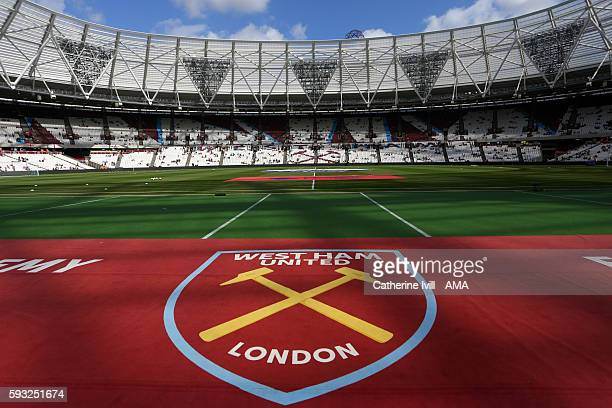General view of the club badge at stadium before the Premier League match between West Ham United and AFC Bournemouth at Olympic Stadium on August 21...