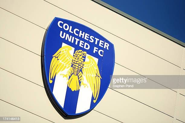 General view of the club badge during a pre season friendly match between Colchester United and Tottenham Hotspur at the Colchester Community Stadium...