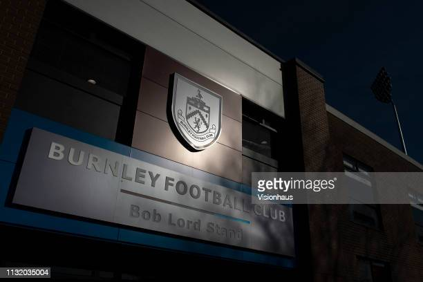 A general view of the club crest on the outside of Turf Moor home of Burnley FC before the Premier League match between Burnley FC and Tottenham...