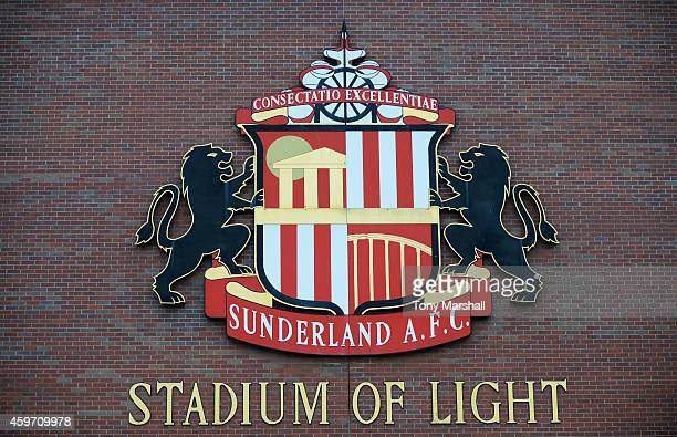 A general view of the club crest prior to the Barclays Premier League match between Sunderland and Chelsea at Stadium of Light on November 29 2014 in...