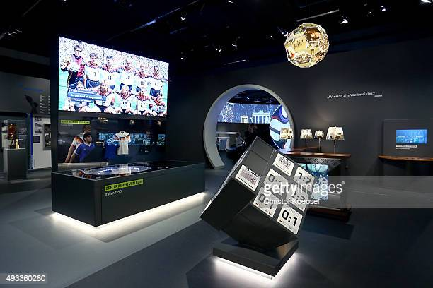 General view of the club football exhibition hall at the German Football Museum on October 19 2015 in Dortmund Germany