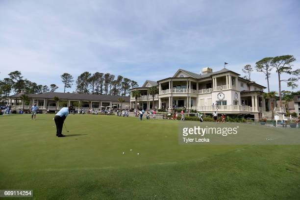 General view of the club house and putting green during the final round of the 2017 RBC Heritage at Harbour Town Golf Links on April 16, 2017 in...