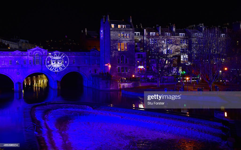 A general view of the club logo projected onto the bridge over the River Avon before the Aviva Premiership match between Bath Rugby and Sale Sharks at Recreation Ground on March 6, 2015 in Bath, England.