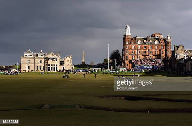 General view of the clubhouse and 18th hole during the final round of The Alfred Dunhill Links Championship at The Old Course on October 5 2008 in...