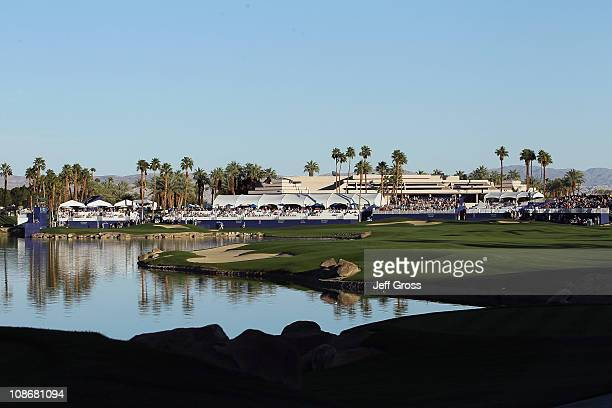 General view of the clubhouse and the 18th hole are seen during the final round of the Bob Hope Classic at the Palmer Private course at PGA West on...