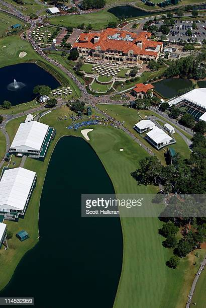 A general view of the clubhouse and the 18th hole is seen from the MetLife Blimp during the final round of THE PLAYERS Championship held at THE...