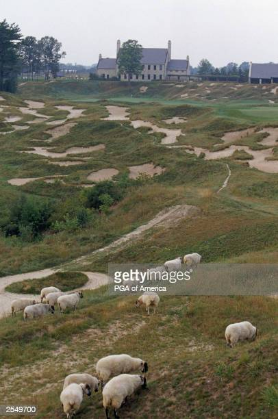 General view of the Clubhouse and the par 4 18th hole at Whistling Straits Golf Course, site of the 2004 PGA Championship on September 2, 2003 in...