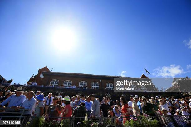 A general view of the clubhouse at Queens Club as fans watch action on centre court during Day 1 of the FeverTree Championships at Queens Club on...
