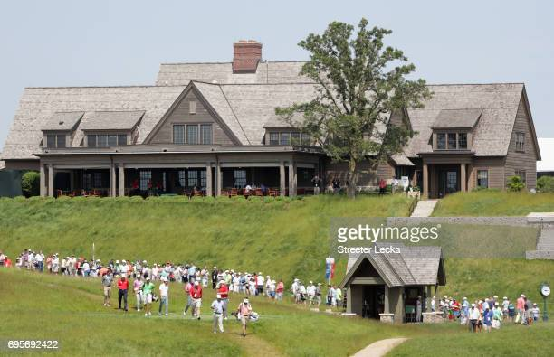 A general view of the clubhouse during a practice round prior to the 2017 US Open at Erin Hills on June 13 2017 in Hartford Wisconsin