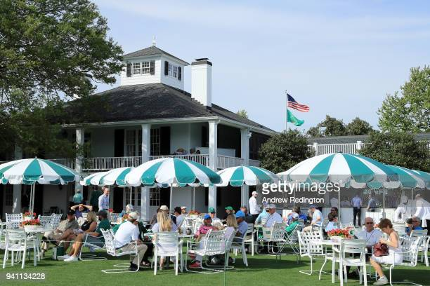 A general view of the clubhouse during a practice round prior to the start of the 2018 Masters Tournament at Augusta National Golf Club on April 2...
