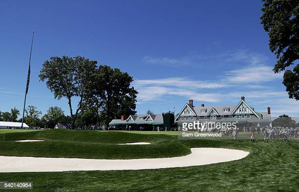 A general view of the clubhouse during a practice round prior to the US Open at Oakmont Country Club on June 14 2016 in Oakmont Pennsylvania
