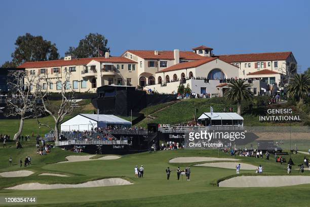 General view of the clubhouse during the second round of the Genesis Invitational at Riviera Country Club on February 14, 2020 in Pacific Palisades,...