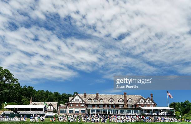 General view of the clubhouse is seen beyond the 18th green during a practice round prior to the 2016 PGA Championship at Baltusrol Golf Club on July...