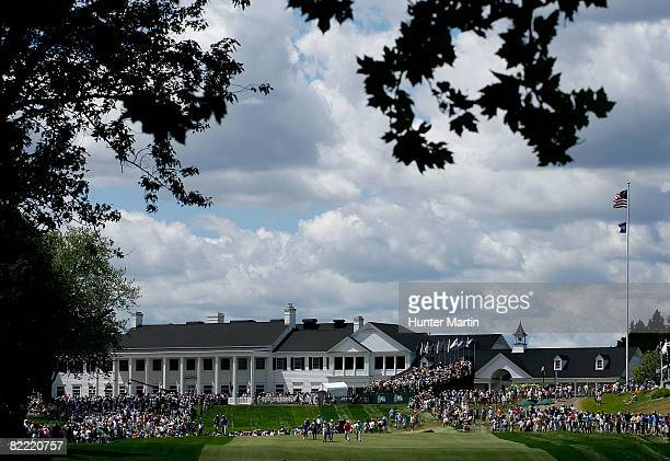 A general view of the clubhouse looking at the first fairway during round two of the 90th PGA Championship at Oakland Hills Country Club on August 8...