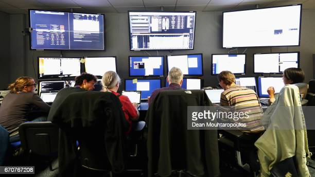 A general view of the CMS control room during a behind the scenes tour at CERN the World's Largest Particle Physics Laboratory on April 19 2017 in...