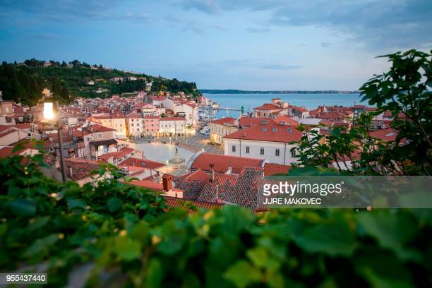 A general view of the coastal town of Piran Slovenia is seen on May 6 2018