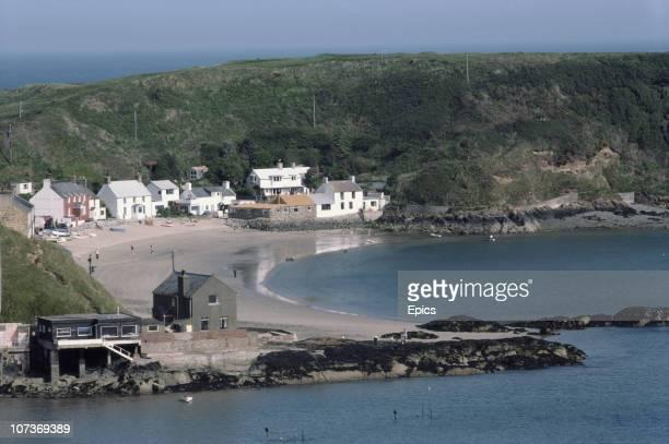 A general view of the coastal village of Porthdinllaen Gwynedd Wales June 1983