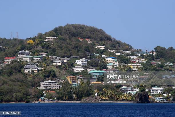 General view of the coastline during Prince Charles, Prince of Wales' visit to the St. Vincent and Grenadines Coastguard on March 20, 2019 in...
