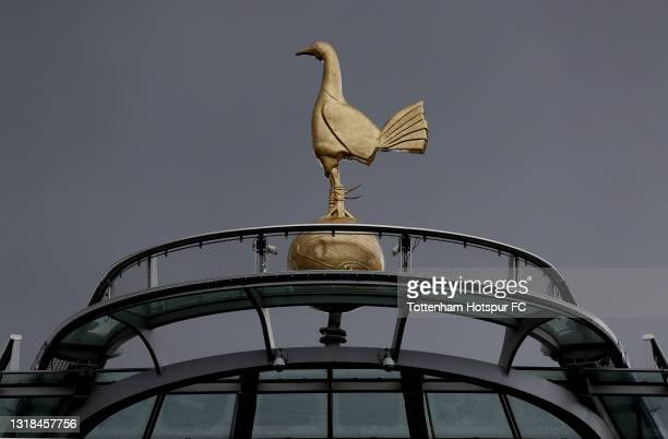 General view of the cockerel on top of the south stand during the Premier League match between Tottenham Hotspur and Wolverhampton Wanderers at...