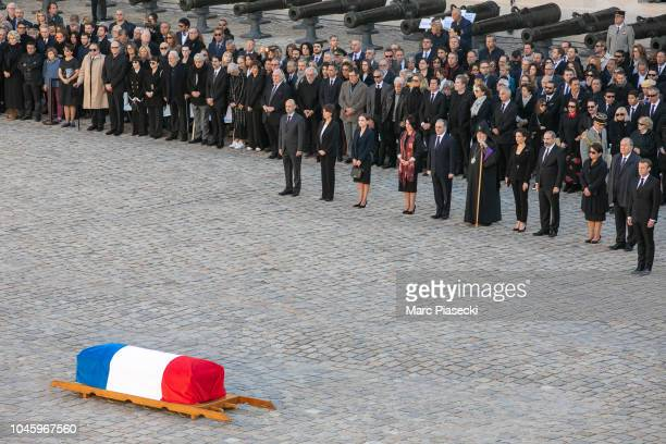 A general view of the coffin arriving during the national tribute to Charles Aznavour at Les Invalides on October 5 2018 in Paris France French...