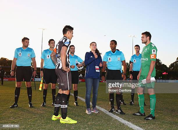A general view of the coin toss priorto the FFA Cup Quarter Final match between Bentleigh and Adelaide City at Kingston Heath Complex on October 29...