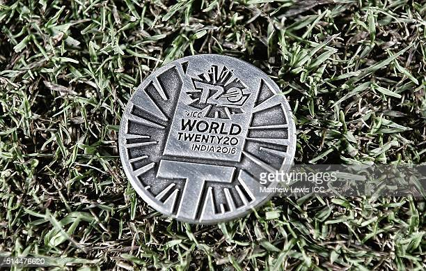 A general view of the coin used during the coin toss ahead of the ICC Twenty20 World Cup match between Ireland and Oman at the HPCA Stadium on March...