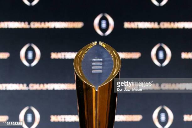 General view of The College Football Playoff National Championship Trophy before the Head Coaches Press Conference before the College Football...