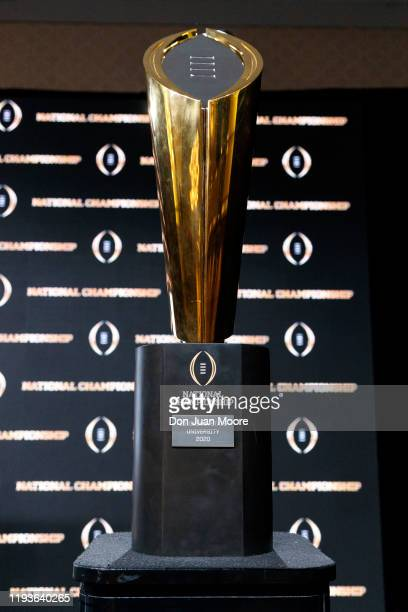 A general view of the College Football Playoff National Championship Trophy during the press conference after the College Football Playoff National...