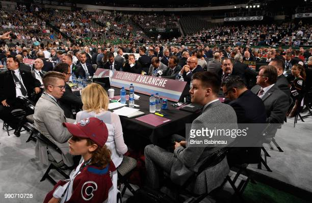 A general view of the Colorado Avalanche draft table is seen during the first round of the 2018 NHL Draft at American Airlines Center on June 22 2018...