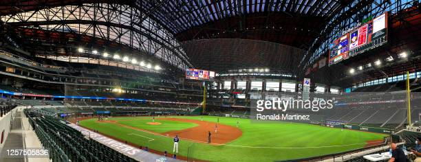 General view of the Colorado Rockies and the Texas Rangers during a MLB exhibition game at Globe Life Field on July 21, 2020 in Arlington, Texas.