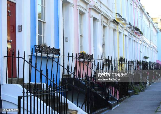 General view of the colourful houses of Notting Hill on May 15, 2020 in London, England. The prime minister announced the general contours of a...