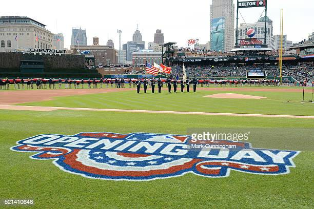 A general view of the Comerica Park field during Opening Day ceremonies prior to the game between the Detroit Tigers and the New York Yankees at...