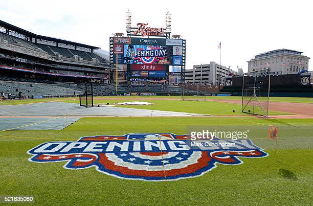 A general view of the Comerica Park field prior to the Opening Day game between the Detroit Tigers and the New York Yankees at Comerica Park on April...