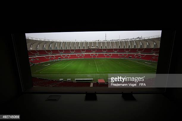 A general view of the commentators Cabin from the Estadio BeiraRio during the 2014 FIFA World Cup Host City Tour on May 21 2014 in Porto Alegre Brazil