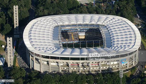 General view of the CommerzbankArena during the match between Greece and Japan for the Confederations Cup 2005 on June 19 2005 in Frankfurt Germany