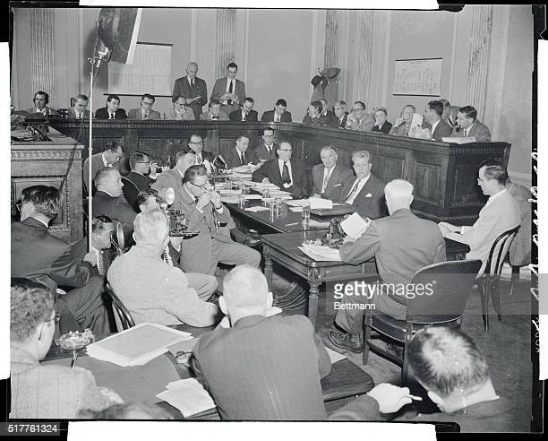 General view of the committee room as Senator Joseph McCarthy of Wisconsin chairman of the Senate Investigations Subcommittee questioned Senator...