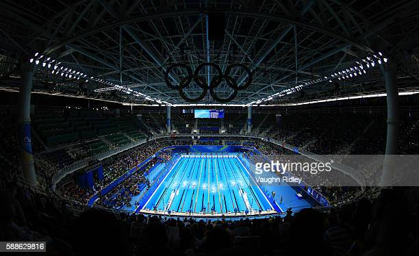 A general view of the competition pool during the Men's 50m Freestyle Heats on Day 6 of the Rio 2016 Olympic Games at the Olympic Aquatics Stadium on...