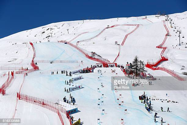 A general view of the competition slope during the Audi FIS Alpine Ski World Cup Finals Men's and Women's Team Event on March 18 2016 in St Moritz...