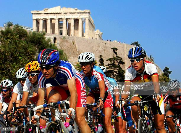 General view of the competitors in the women's cycling road race passing the Acropolis on August 15, 2004 during the Athens 2004 Summer Olympic Games...