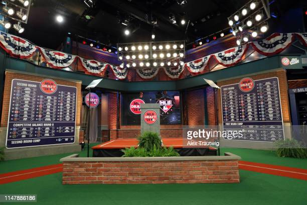 General view of the completed first and second round draft boards during the 2019 Major League Baseball Draft at Studio 42 at the MLB Network on...
