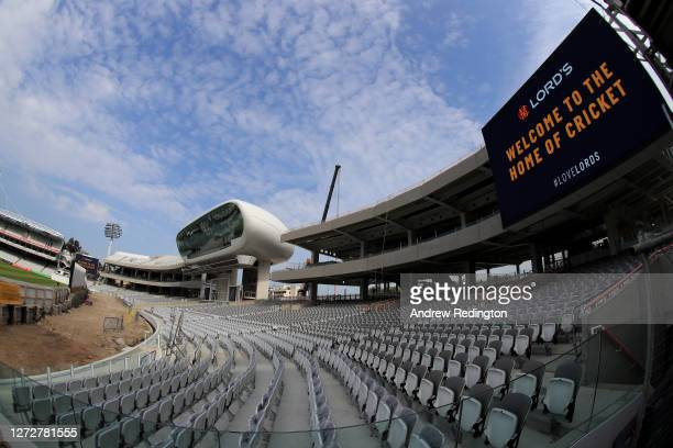 General view of the Compton And Edrich stands under construction at Lord's Cricket Ground on September 16, 2020 in London, England. Marylebone...