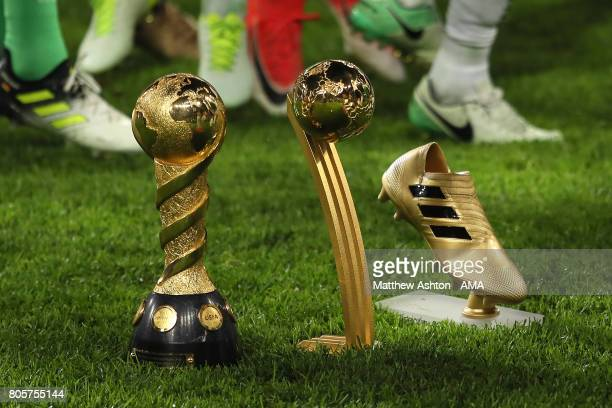 General View of the Confederations Cup trophy golden goal trophy and golden boot trophy at the end of the FIFA Confederations Cup Russia 2017 Final...