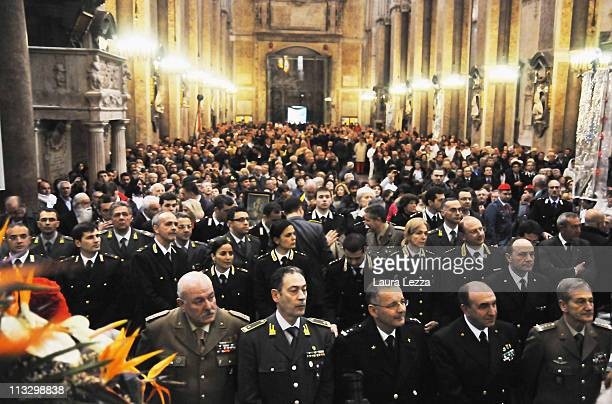 General view of the congregation during the ceremony on the day of the blood miracle at Naples Cathedral on April 30 2011 in Naples Italy Twice a...
